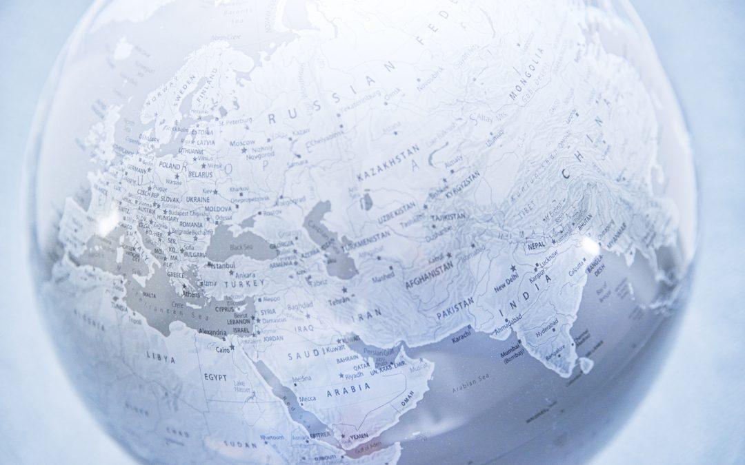 Weltkugel, Europa Asien