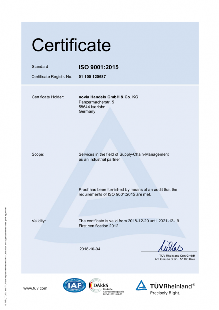 Successfully certified to ISO 9001:2015!