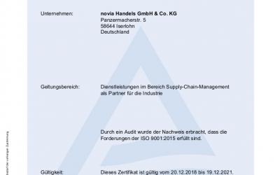 Erfolgreich zertifiziert: ISO 9001:2015!